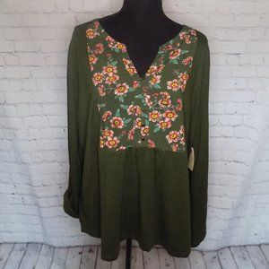 St Johns Bay womens green floral popover shirt NWT
